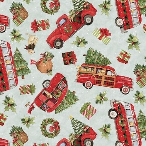 Christmas Caravans Red Wagons Holly Quilt Fabric