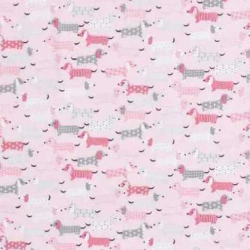 Sausage Dogs Pink Daschunds Flannel Quilt Fabric