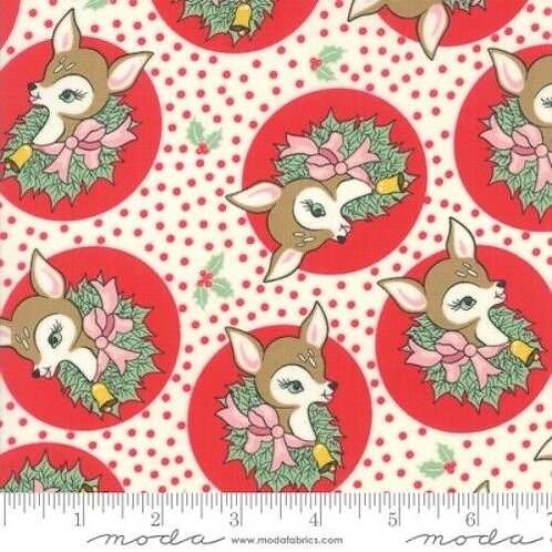 Deer Christmas Red Reindeer Wreath Quilt Fabric