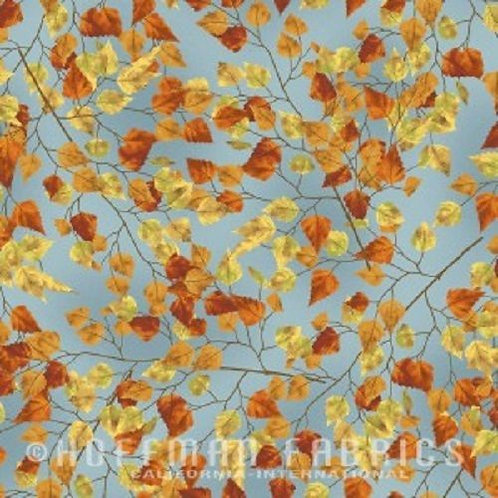 Frosted Fall Autumn Trees Blue Sky Landscape Quilt Fabric