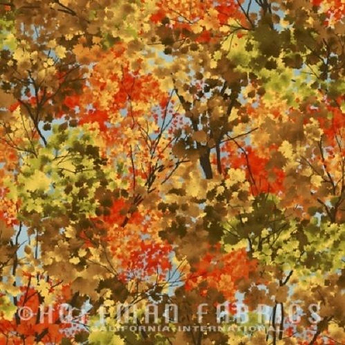 Frosted Fall Autumn Trees Landscape Quilt Fabric