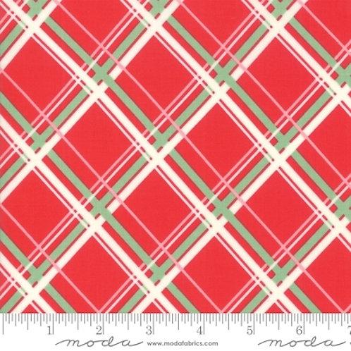 Deer Christmas Red Diagonal Plaid Quilt Fabric