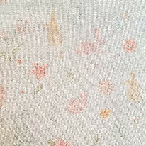 Sweet Bunny Rabbits Flowers Quilt Fabric