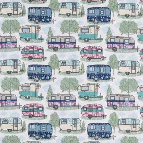 Cute Vintage Caravans Flannel Quilt Fabric