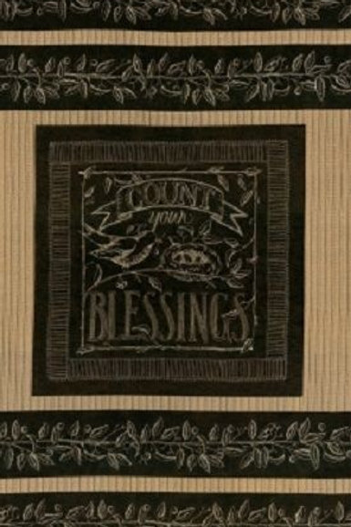 Count Your Blessings Blackboard Nest Eggs Quilt Fabric Panel
