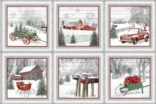 Holiday Homestead Red Wagons Country Christmas Quilt Fabric Panel