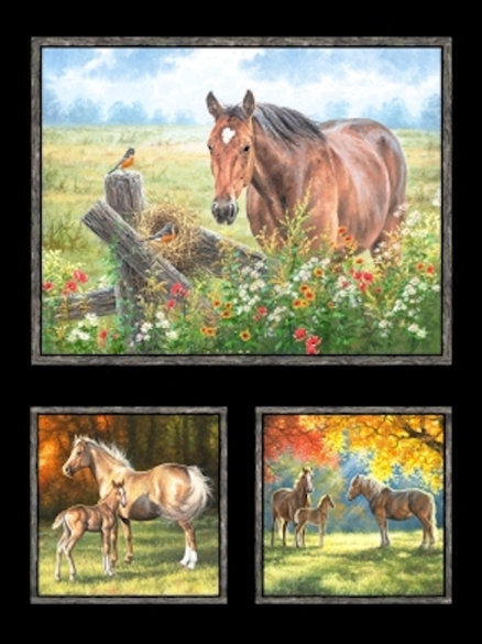 Pastoral Song Autumn Horses Fall Meadow Landscape Quilt Fabric Panel