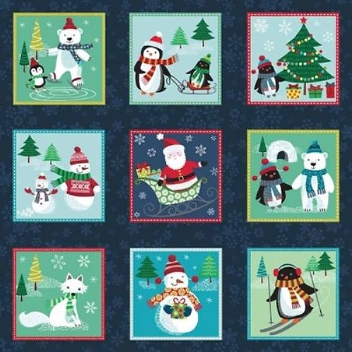 Frosty Snowmen Squares Christmas Quilt Fabric Panel