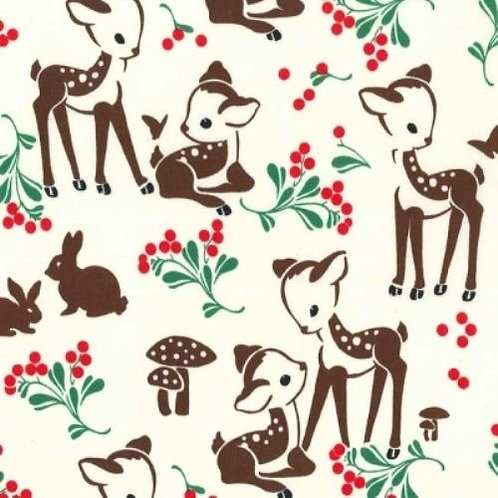 Fawn Memories Deer Toadstools Quilt Fabric