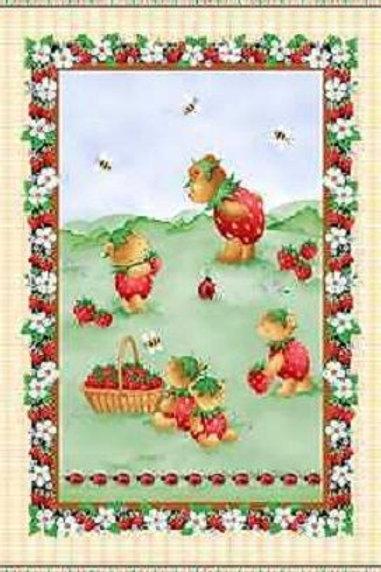 Strawberry Bears Quilt Fabric Panel