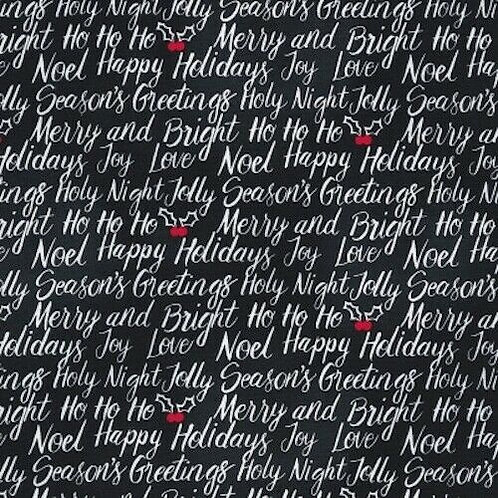 Let It Snow Seasons Greetings Holly Quilt Fabric