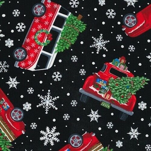 Let It Snow Red Wagons Snowflakes Quilt Fabric