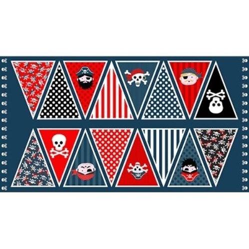 Pirates Bunting Quilt Fabric Panel