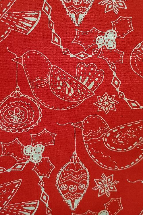 Scandi Christmas Robins Birds Holly Quilt Fabric