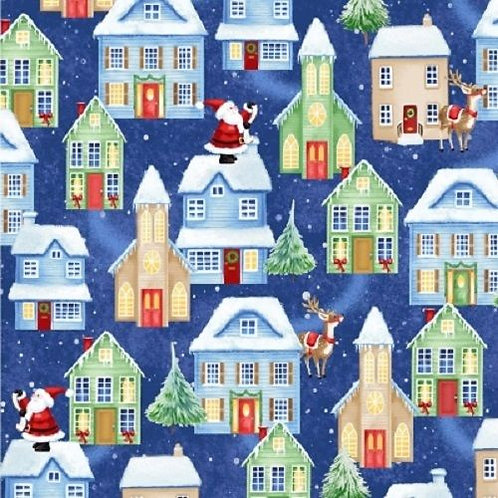 Christmas Village Night Sky Santa Quilt Fabric