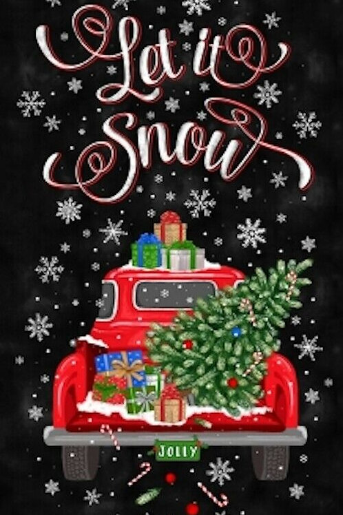 Let It Snow Red Truck Christmas Tree Quilt Fabric Panel