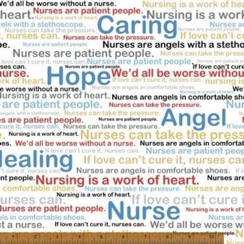 Calling All Nurses Angel Healing Hope Quilt Fabric
