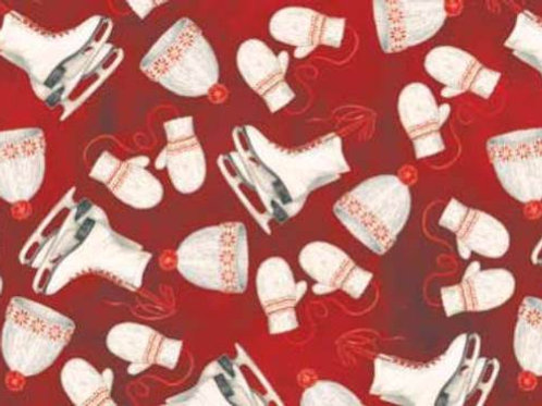 Winter Celebration Mittens Skates Quilt Fabric