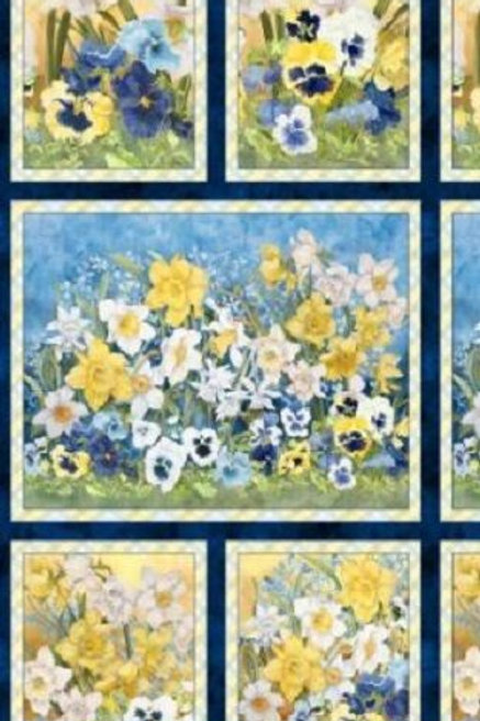 Walking On Sunshine Spring Flowers Pansies Daffodils Fabric Panel
