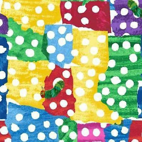 The Very Hungry Caterpillar Patchwork Dot Quilt Fabric