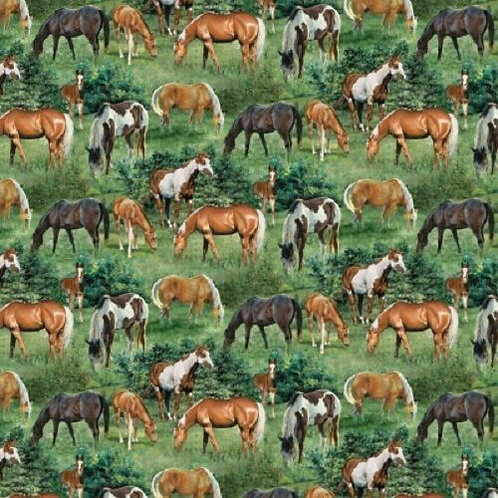 Wild Wings Valley Crest Horses Scenic Quilt Fabric 1/2 yd