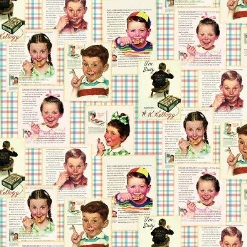 Kellogg's Cornflakes Retro Kids Quilt Fabric