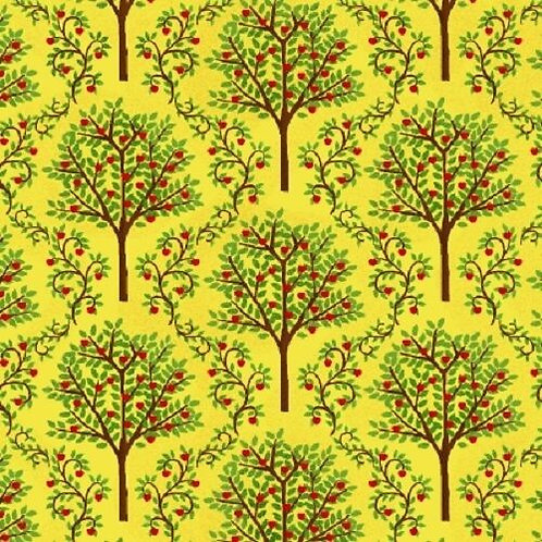 Barnyard Quilts Yellow Apple Trees Quilt Fabric