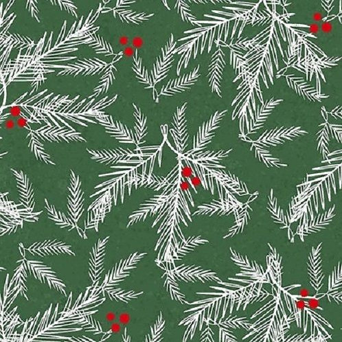 Holiday Traditions Green Holly Christmas Quilt Fabric
