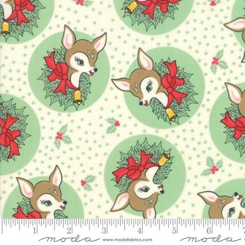 Deer Christmas Green Reindeer Wreath Quilt Fabric