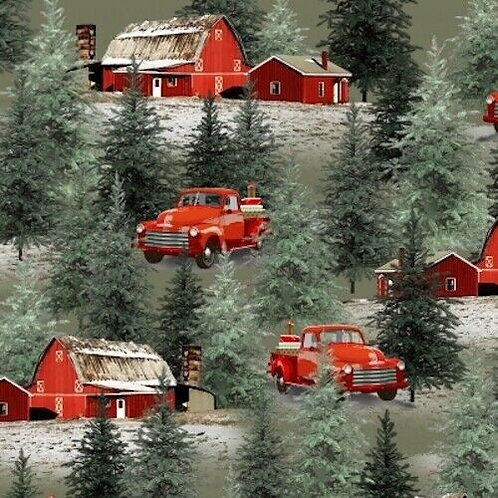Holiday Homestead Wagons Snow Barns Country Christmas Quilt Fabric