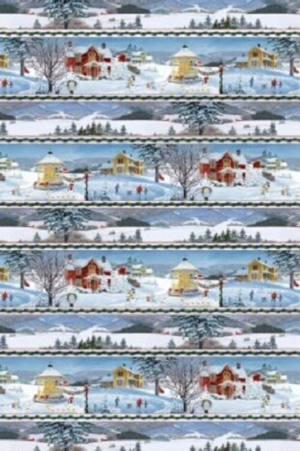 Winter's Eve Christmas Village Stripe Quilt Fabric