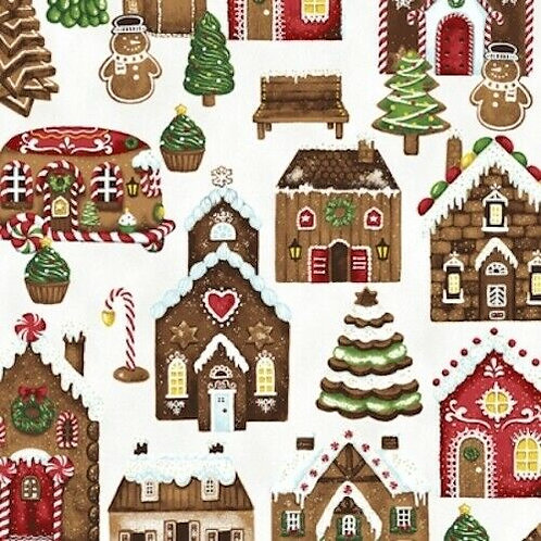 Candy Cane Lane Gingerbread Houses Gold Metallic Quilt Fabric