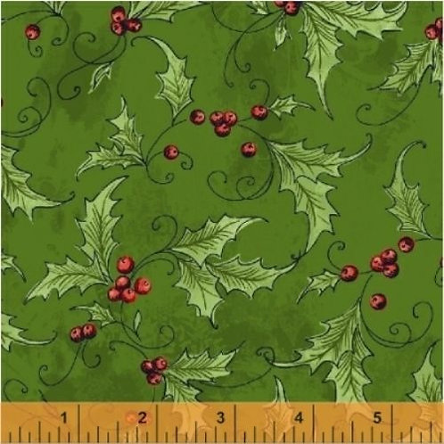 Season's Greetings Green Holly Quilt Fabric