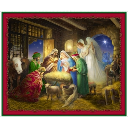 Born Is The King Nativity Christmas Quilt Fabric Panel
