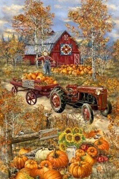 Pumpkin Patch Country Tractor Barn Autumn Fall Quilt Fabric Panel