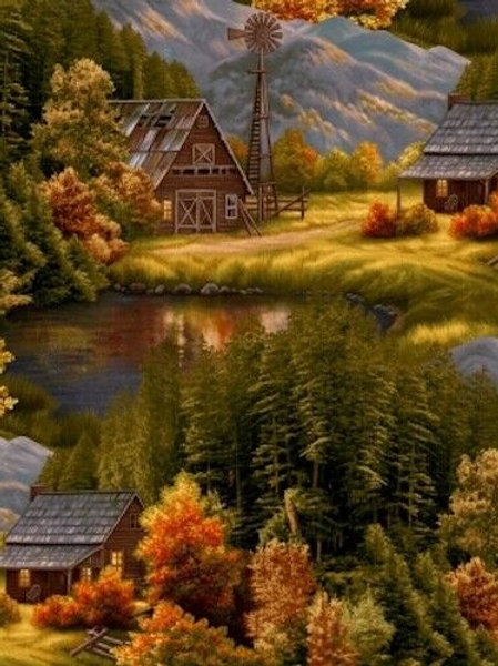 Lakeside Autumn Scenic Country Quilt Fabric 1/2 yd
