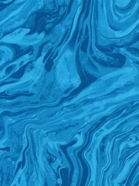 Midnight Turquoise Marble Texture Quilt Fabric