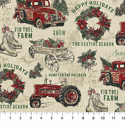 Vintage Christmas Country Quilt Fabric
