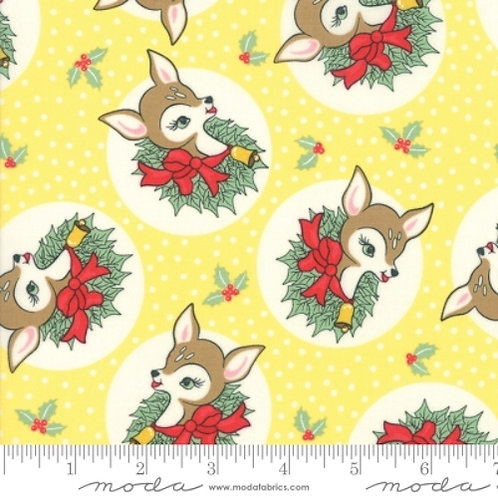 Deer Christmas Yellow Reindeer Wreath Quilt Fabric
