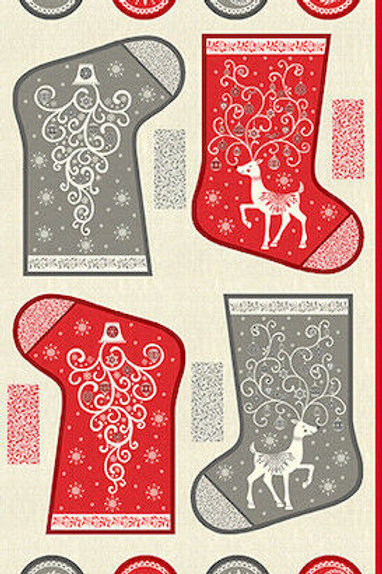 Scandi Christmas Stockings Deer Quilt Fabric Panel