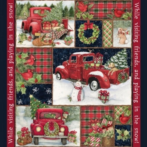 Red Wagons Wreaths Snow Christmas Quilt Fabric Panel