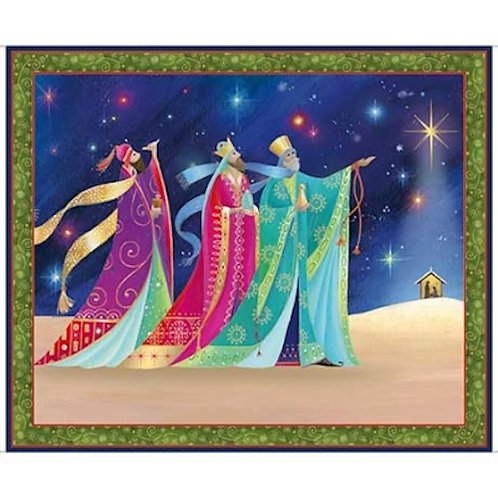 Christ Is Born Three Wise Men Christmas Quilt Fabric Panel