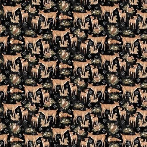Woodland Deer Bunnies Quilt Fabric