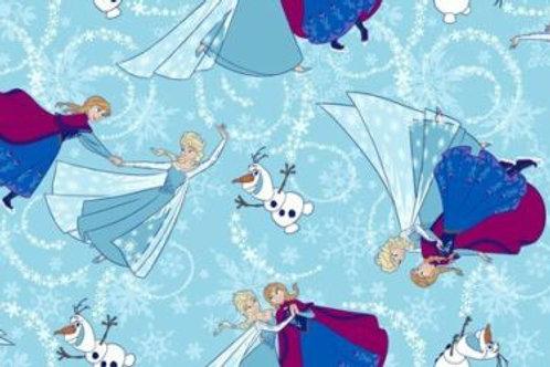 Frozen Elsa Ana Olaf Glitter Quilt Fabric