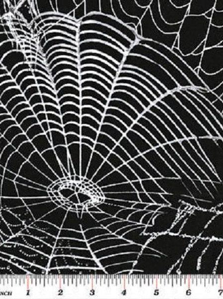 Spooktacular Black Webs Halloween Quilt Fabric