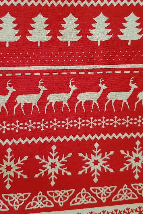 Scandi Christmas Deer Stripe Quilt Fabric