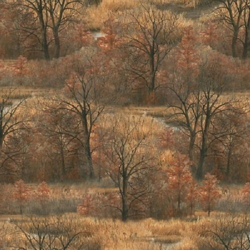 Wild Pheasants Autumn Winter Trees Quilt Fabric