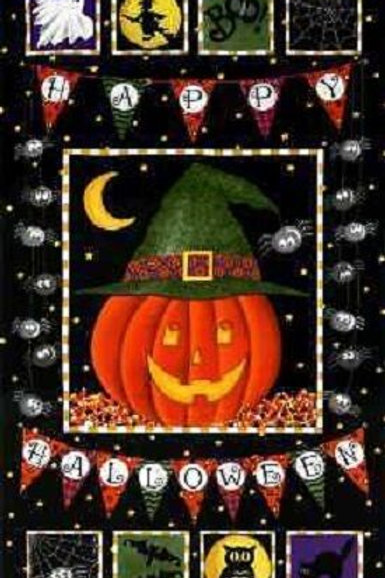 Pumpkin Party Halloween Quilt Fabric Panel