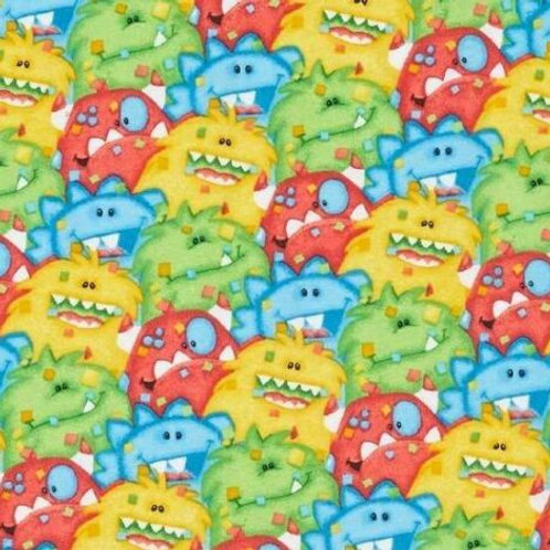 Crazy Monsters Flannel Quilt Fabric