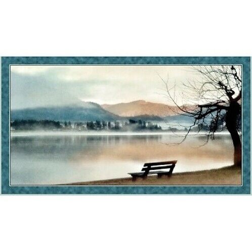Peaceful Lake Scenic Artworks Quilt Fabric Panel